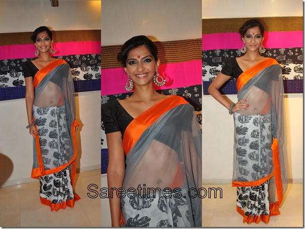 Sonam Kapoor In Grey Designer Sari At Masaba Gupta Store